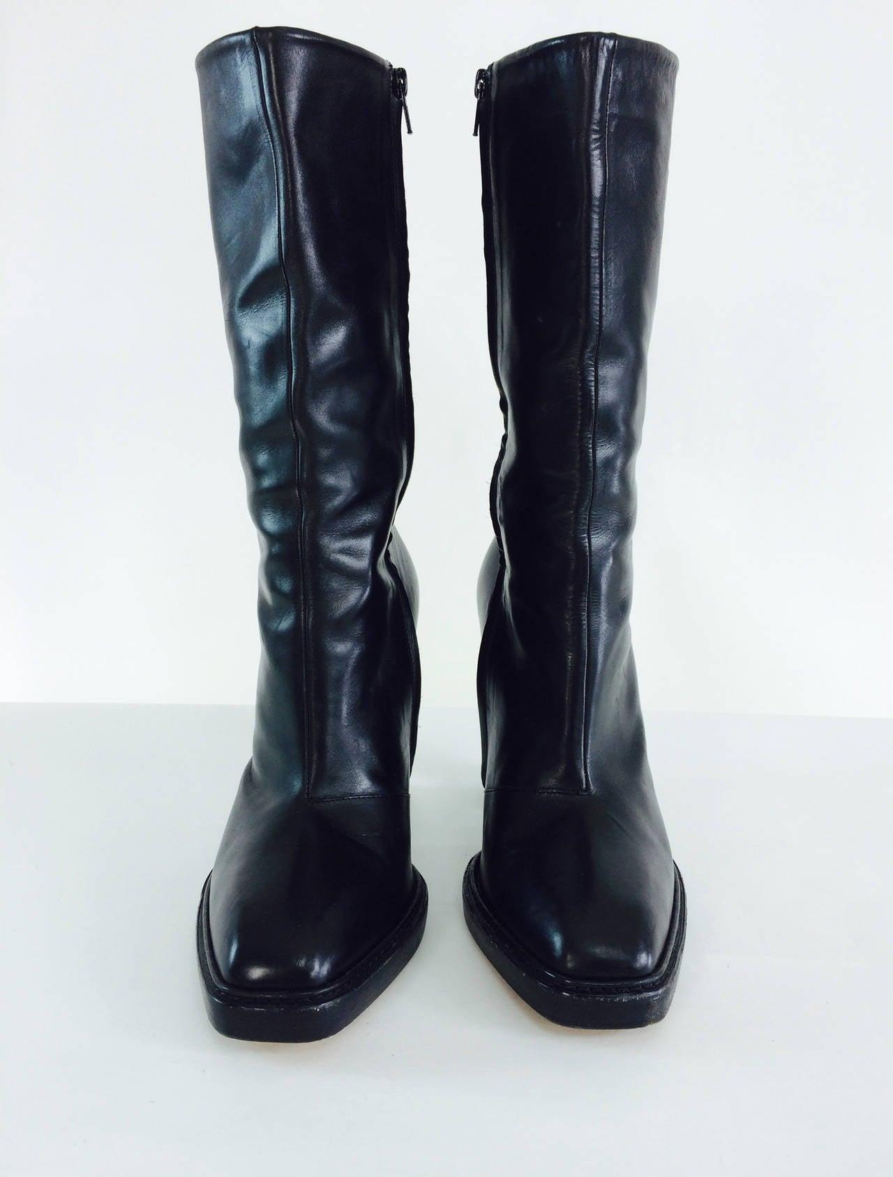 martin margiela plexi heel mid calf black leather