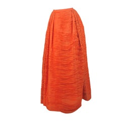 Sybil Connolly Tangerine Pleated Linen Skirt Vintage 1950s