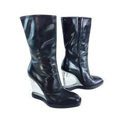 Mason Martin Margiela plexi heel mid calf black leather boots 39 1/2