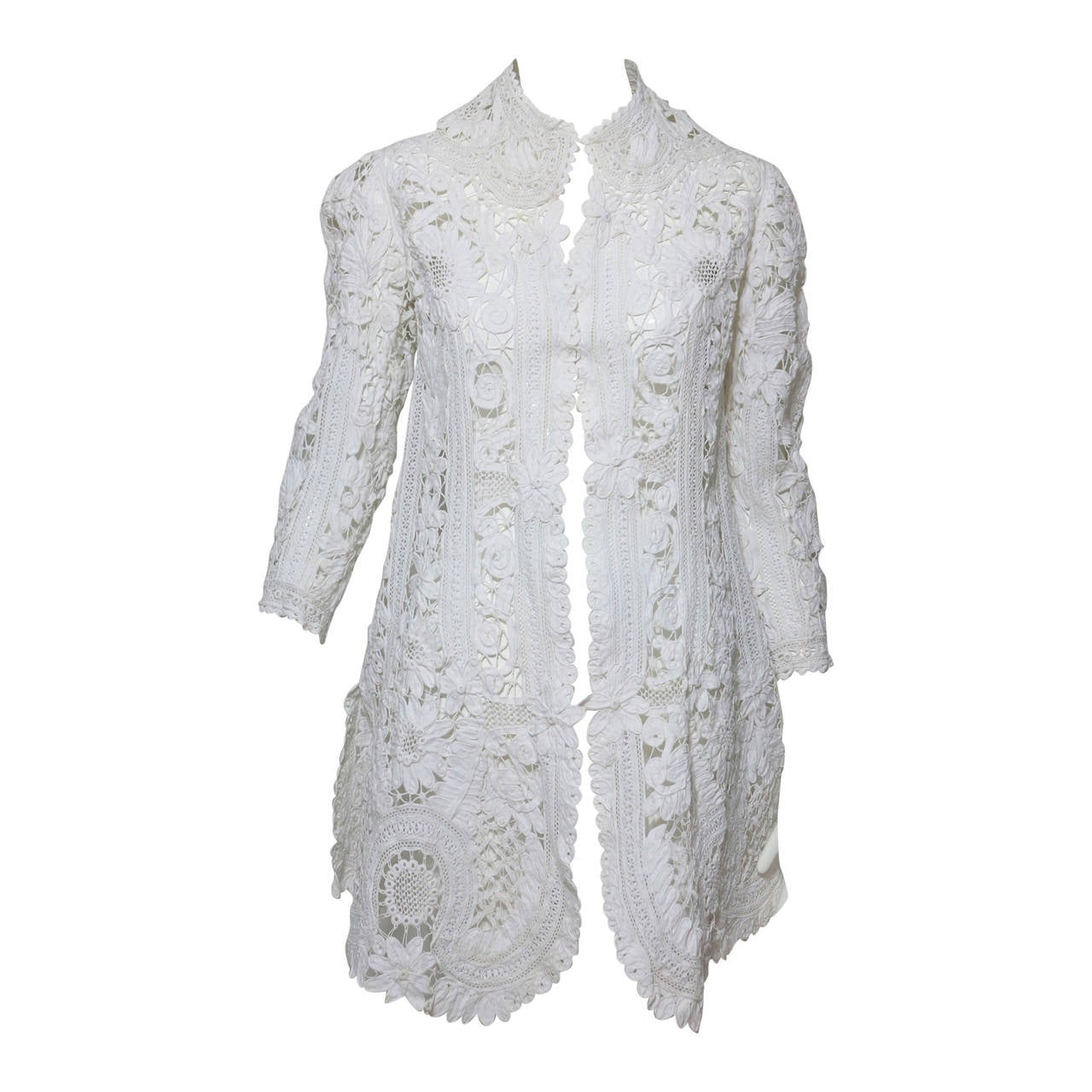 Battenburg white tape lace coat handmade Victorian For Sale