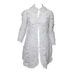 Battenburg white tape lace coat handmade Victorian
