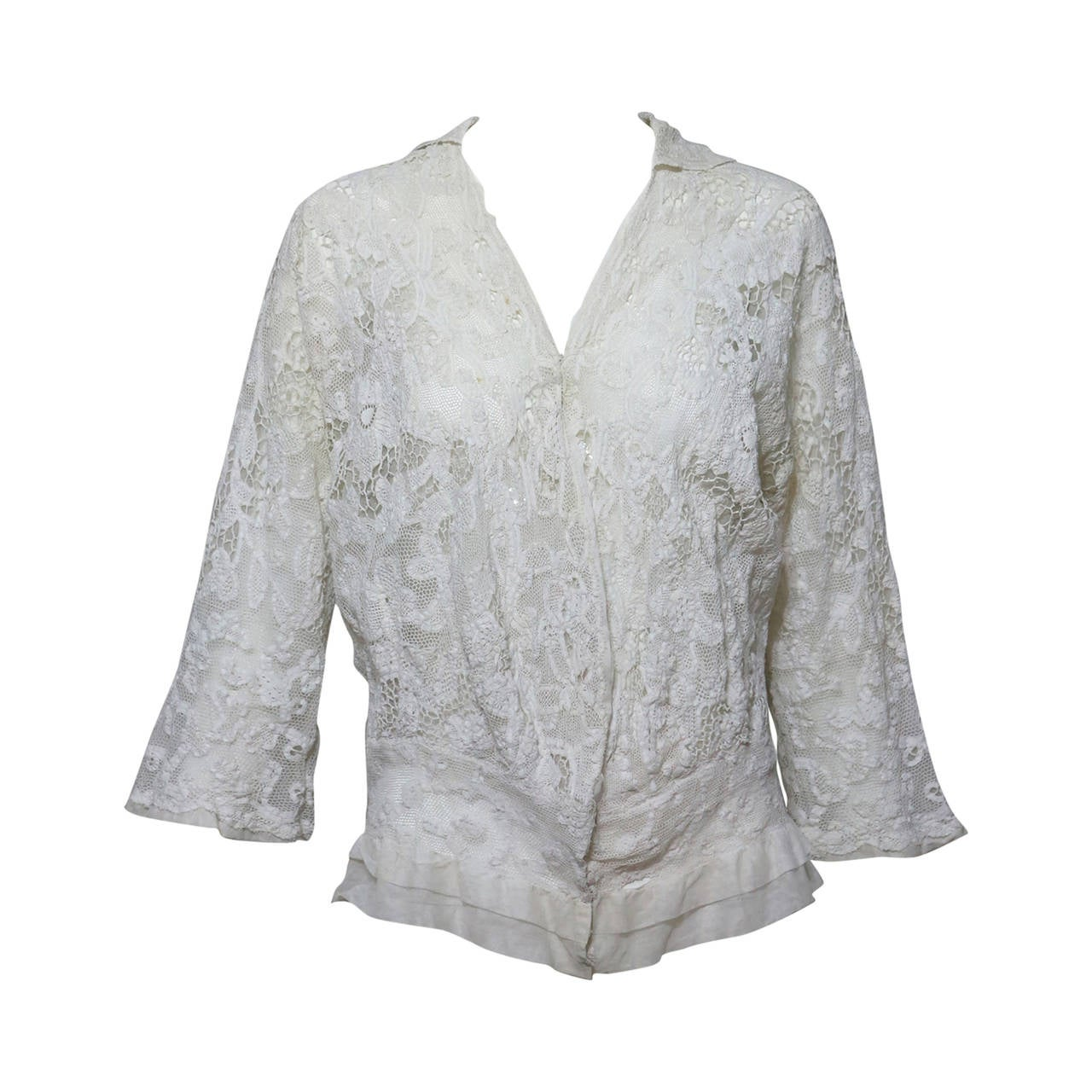 Handmade mixed lace lace Edwardian jacket in off white