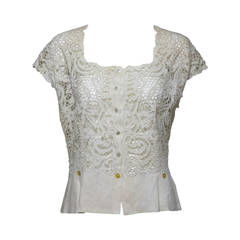 Madeira handmade cut work lace embroidered blouse in off white 1950s
