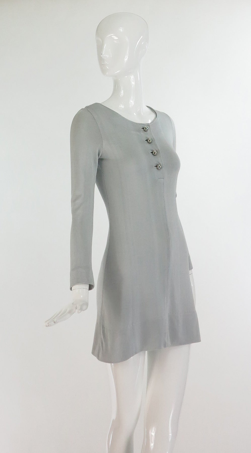 Paraphernalia by Betsey Johnson 1960s silver metallic knit mini dress 2