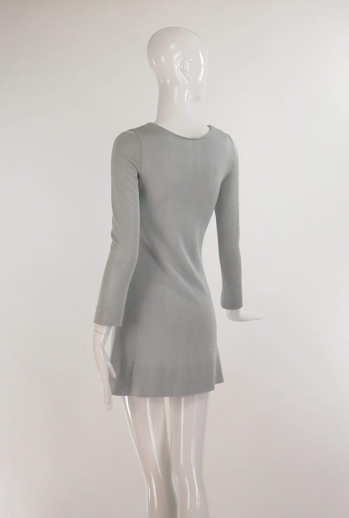 Paraphernalia by Betsey Johnson 1960s silver metallic knit mini dress 6