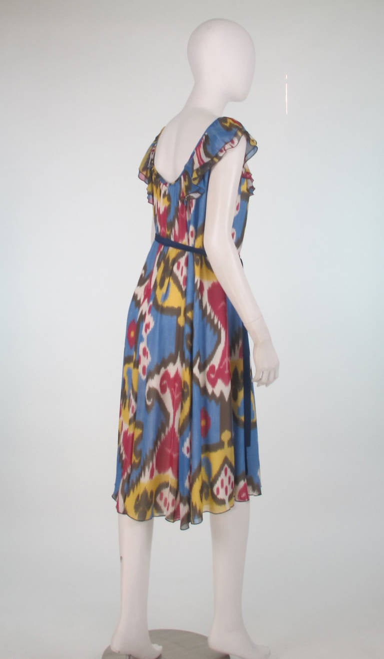 Rena Lange Silk Ikat Print Dress For Sale At 1stdibs
