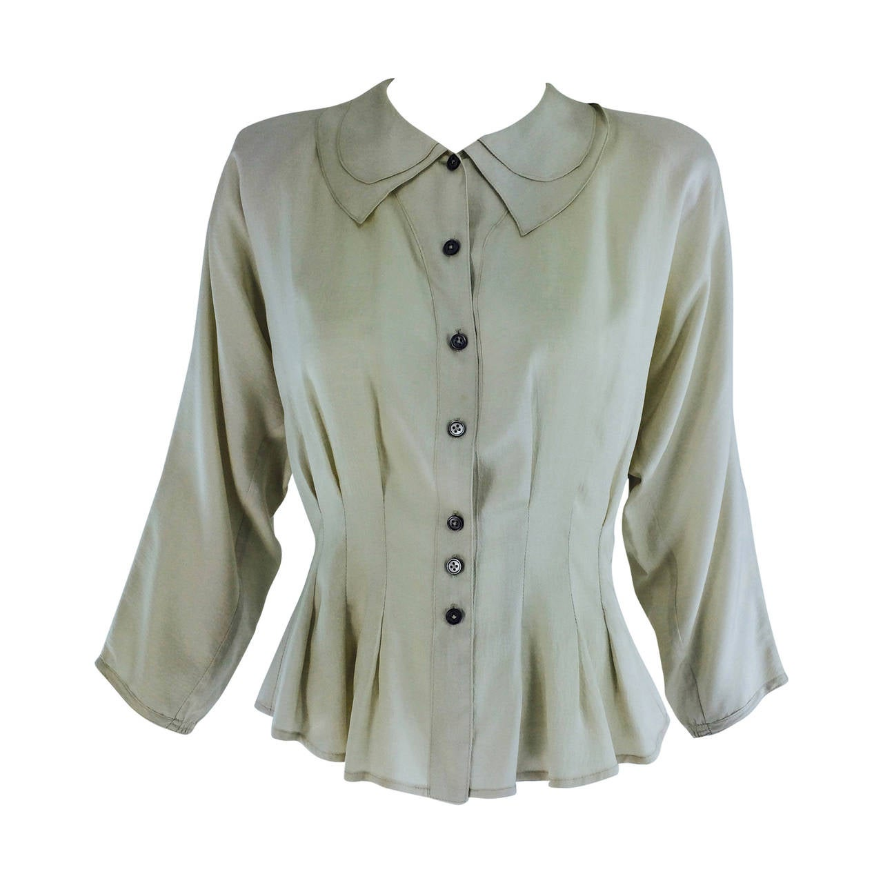 Jean Palant London bone textured silk draped back blouse For Sale