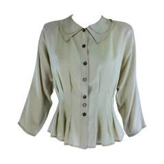 Jean Palant London bone textured silk draped back blouse