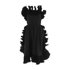 Frank Usher, London black taffeta ruffle pleat trim cocktail dress 1970s