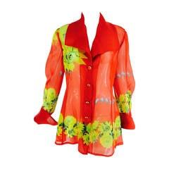 Christian Llinares France floral organza blouse 1980s