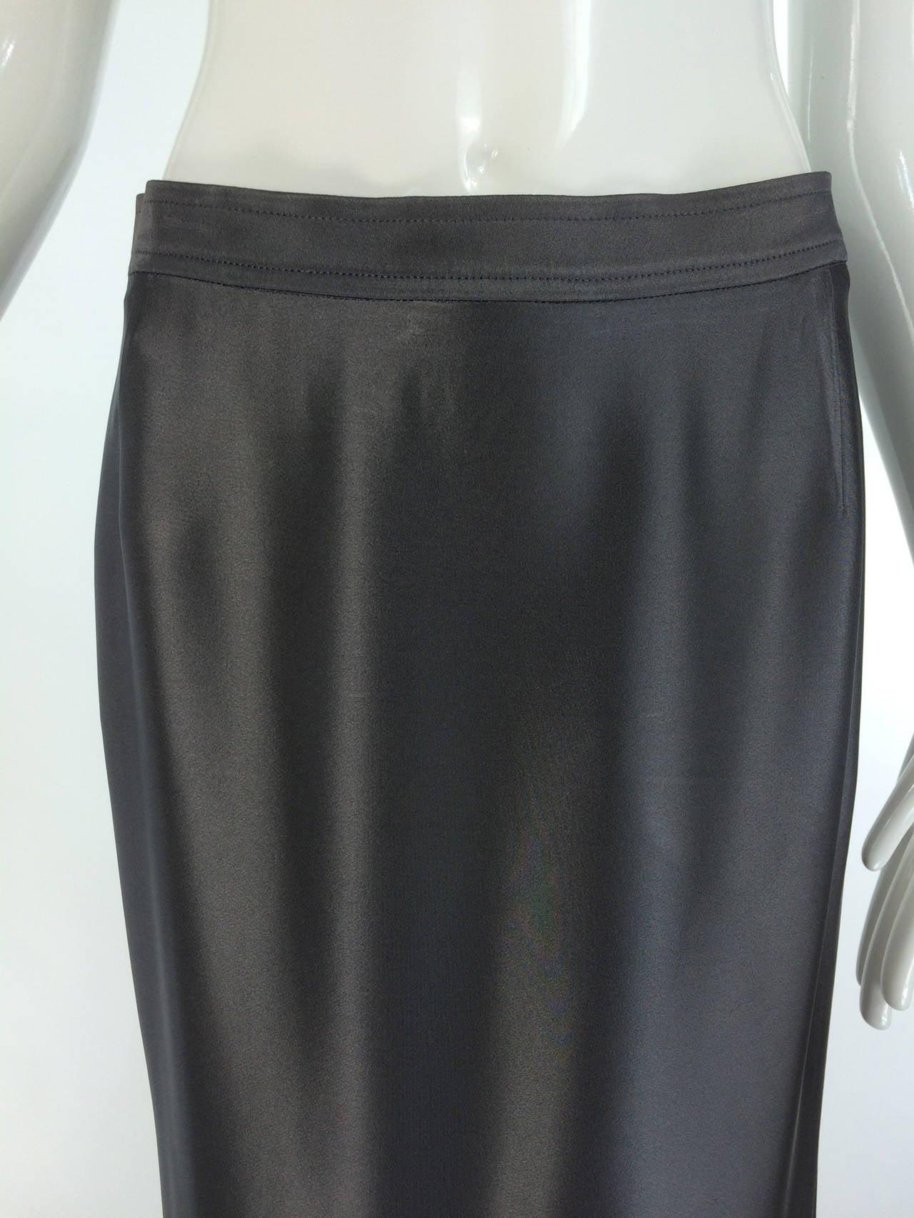 Yves St Laurent Rive Gauche silver grey satin evening skirt 1990s 2