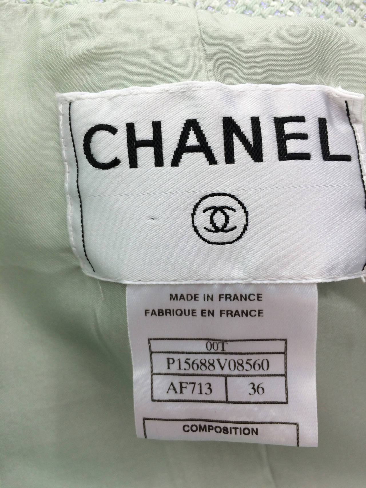 Chanel mint green glitter tweed cropped jacket 2000 For Sale 2