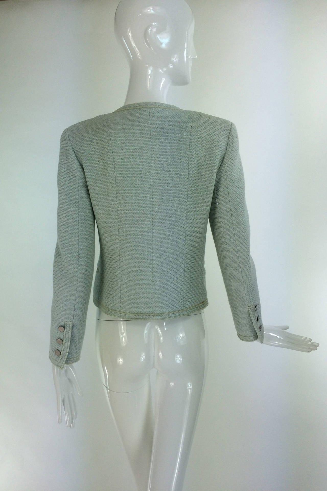 Women's Chanel mint green glitter tweed cropped jacket 2000 For Sale