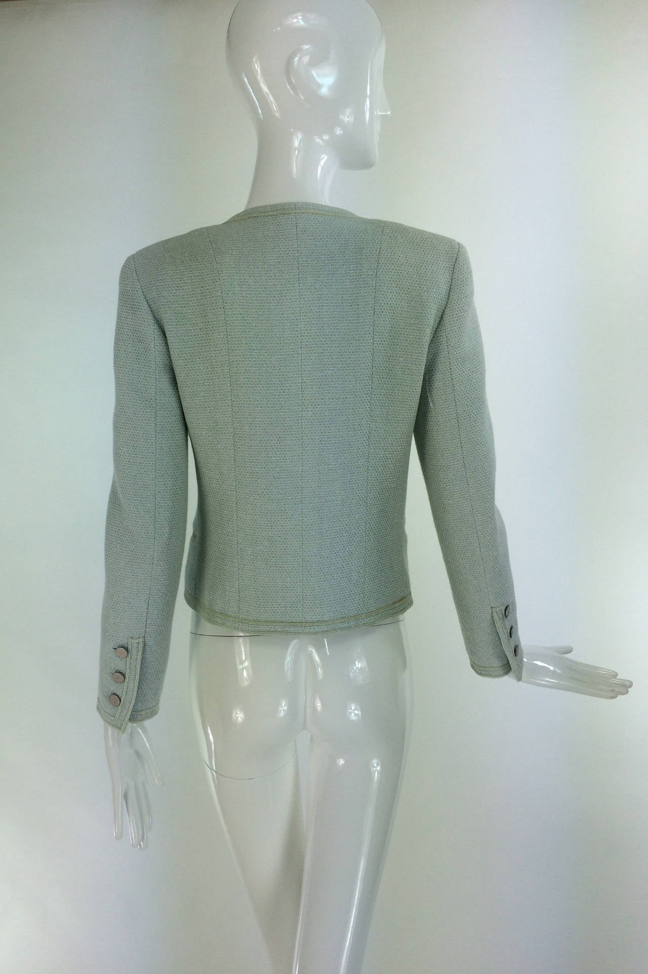 Chanel mint green glitter tweed cropped jacket 2000 5