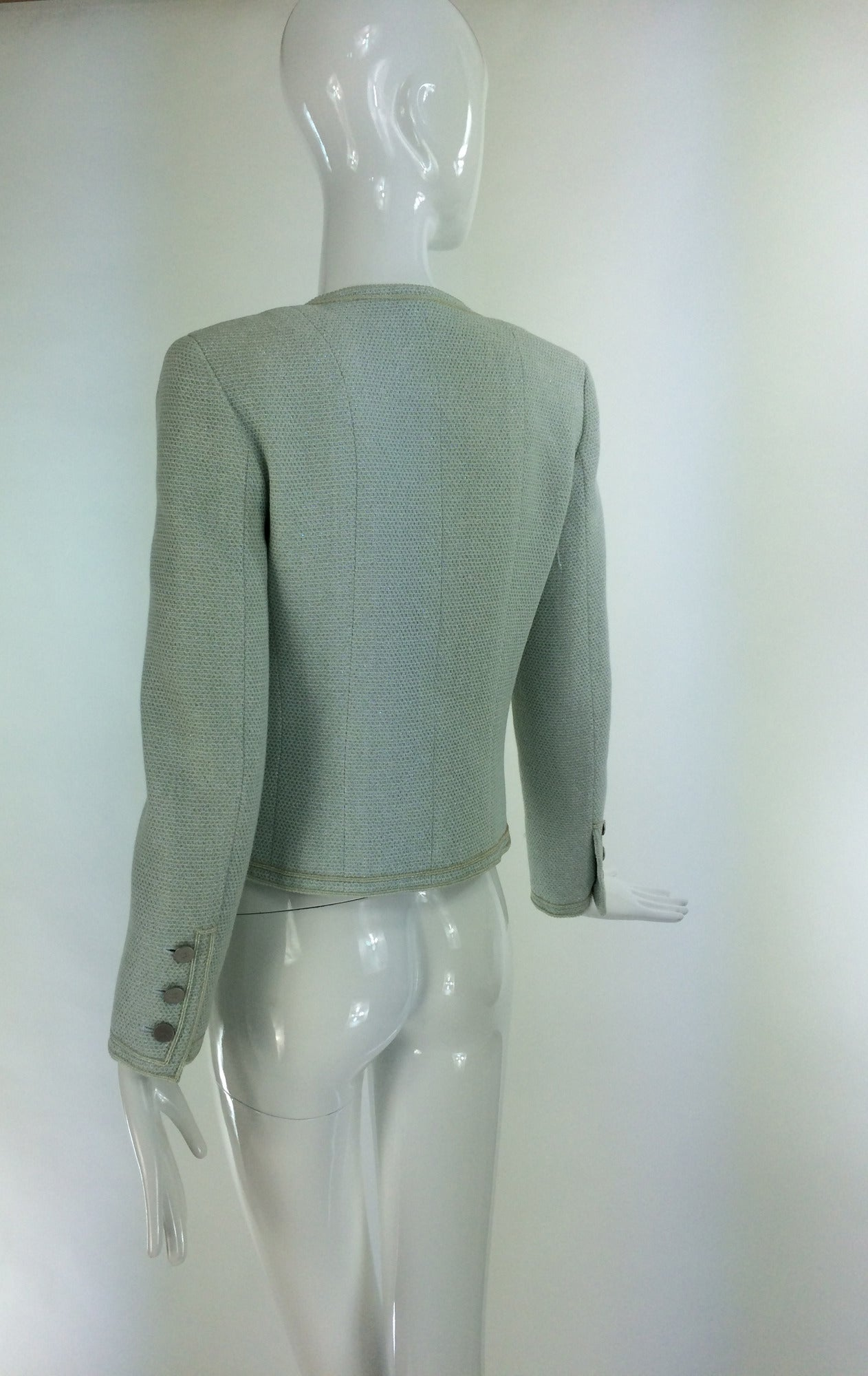 Chanel mint green glitter tweed cropped jacket 2000 In Excellent Condition For Sale In West Palm Beach, FL