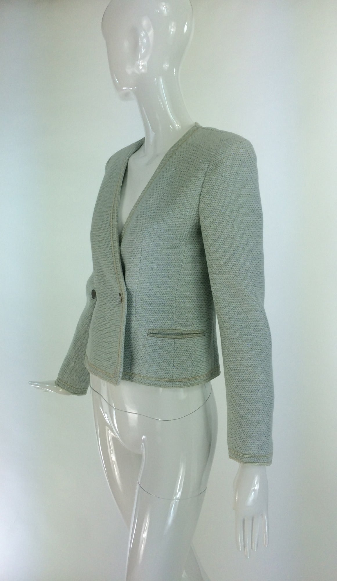 Gray Chanel mint green glitter tweed cropped jacket 2000 For Sale