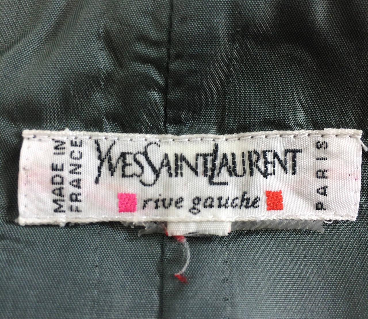 Yves St Laurent Rive Gauche silver grey satin evening skirt 1990s 8