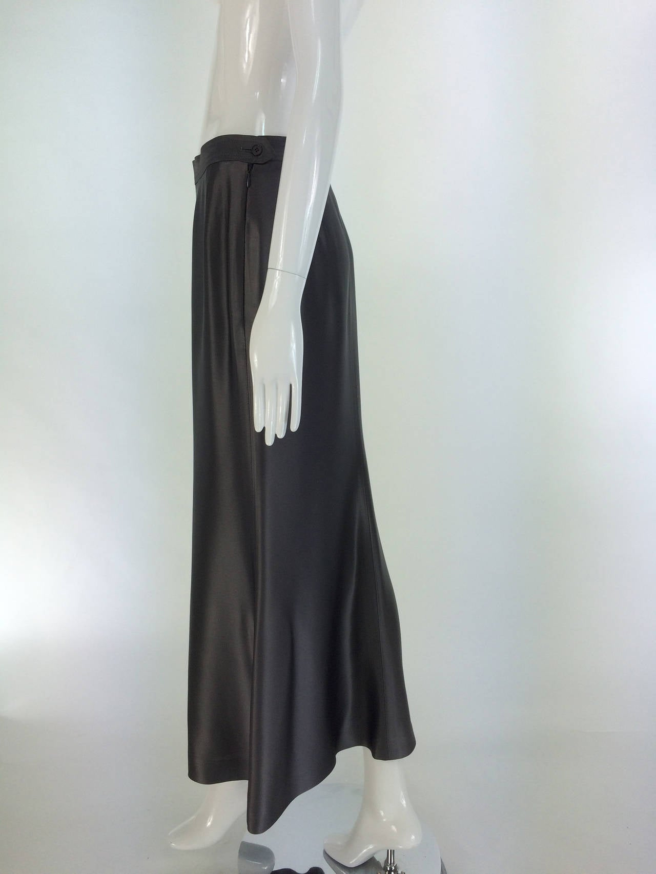 Yves St Laurent Rive Gauche silver grey satin evening skirt 1990s 7