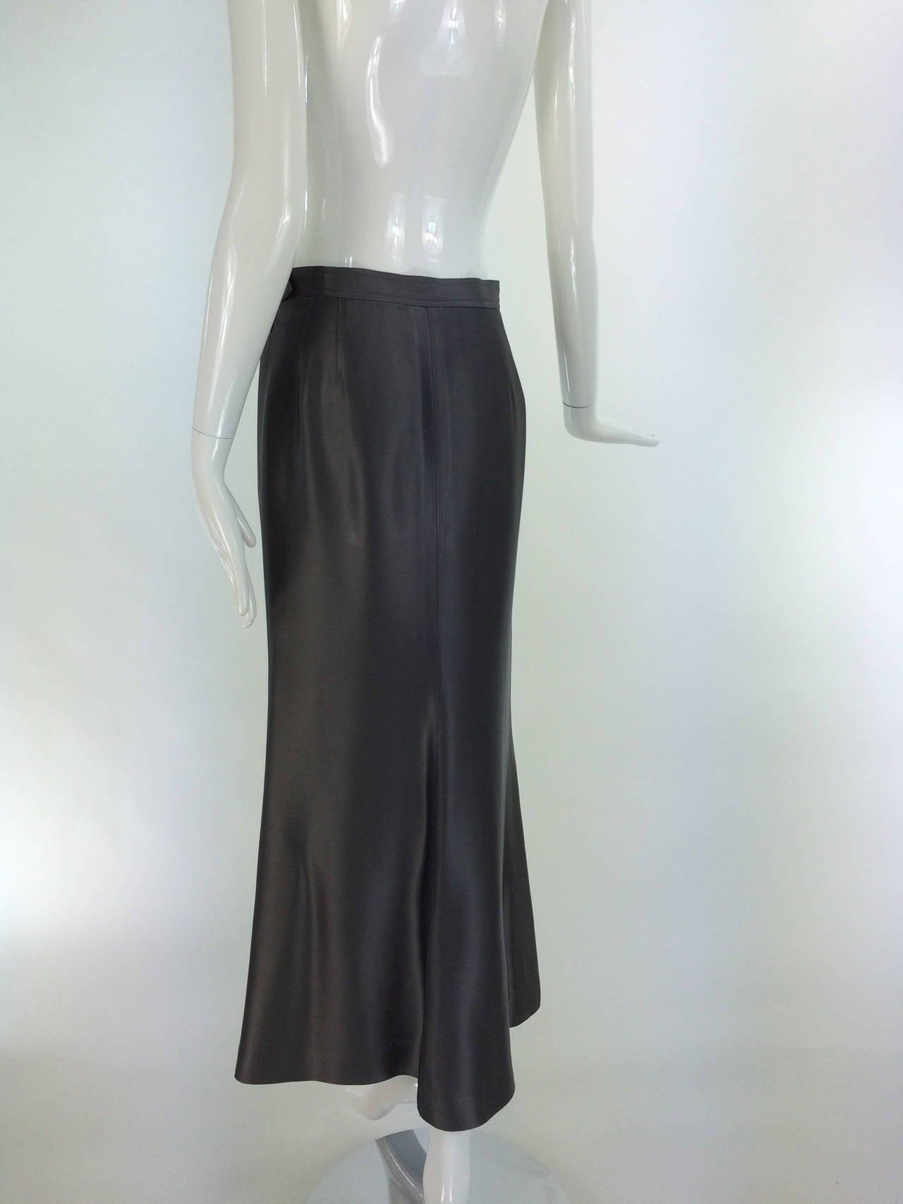 Yves St Laurent Rive Gauche silver grey satin evening skirt 1990s 6