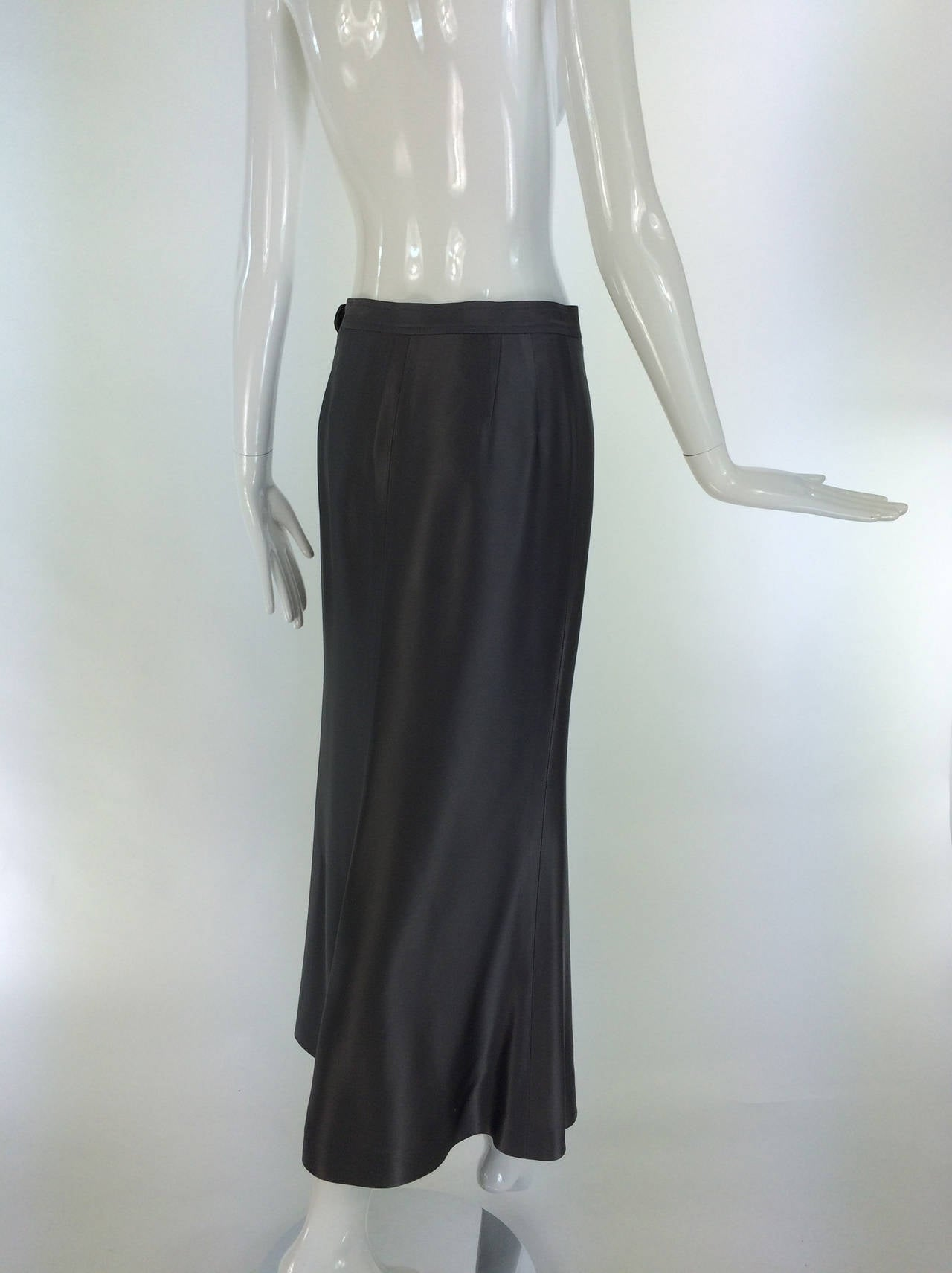 Yves St Laurent Rive Gauche silver grey satin evening skirt 1990s 5