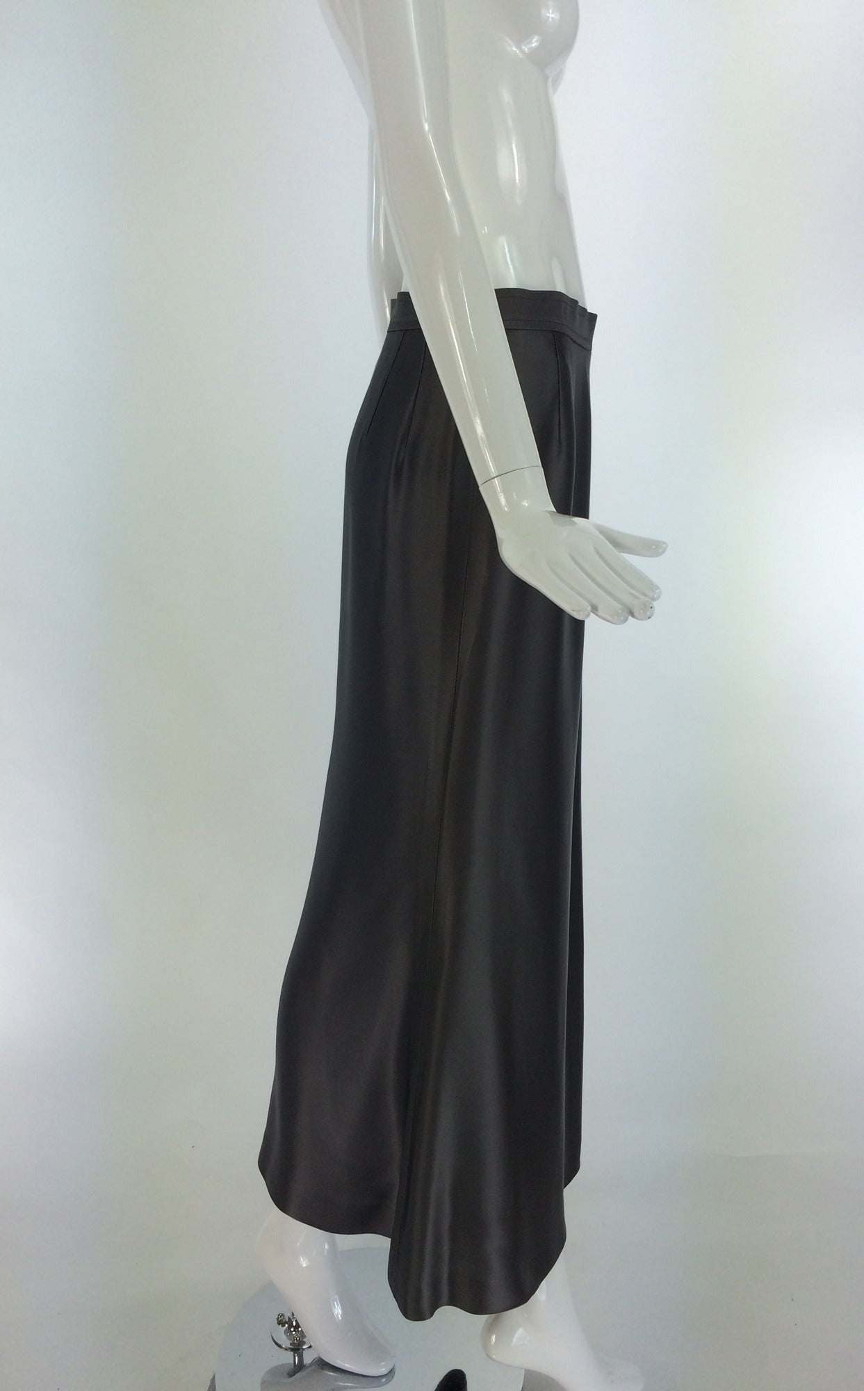 Yves St Laurent Rive Gauche silver grey satin evening skirt 1990s 4