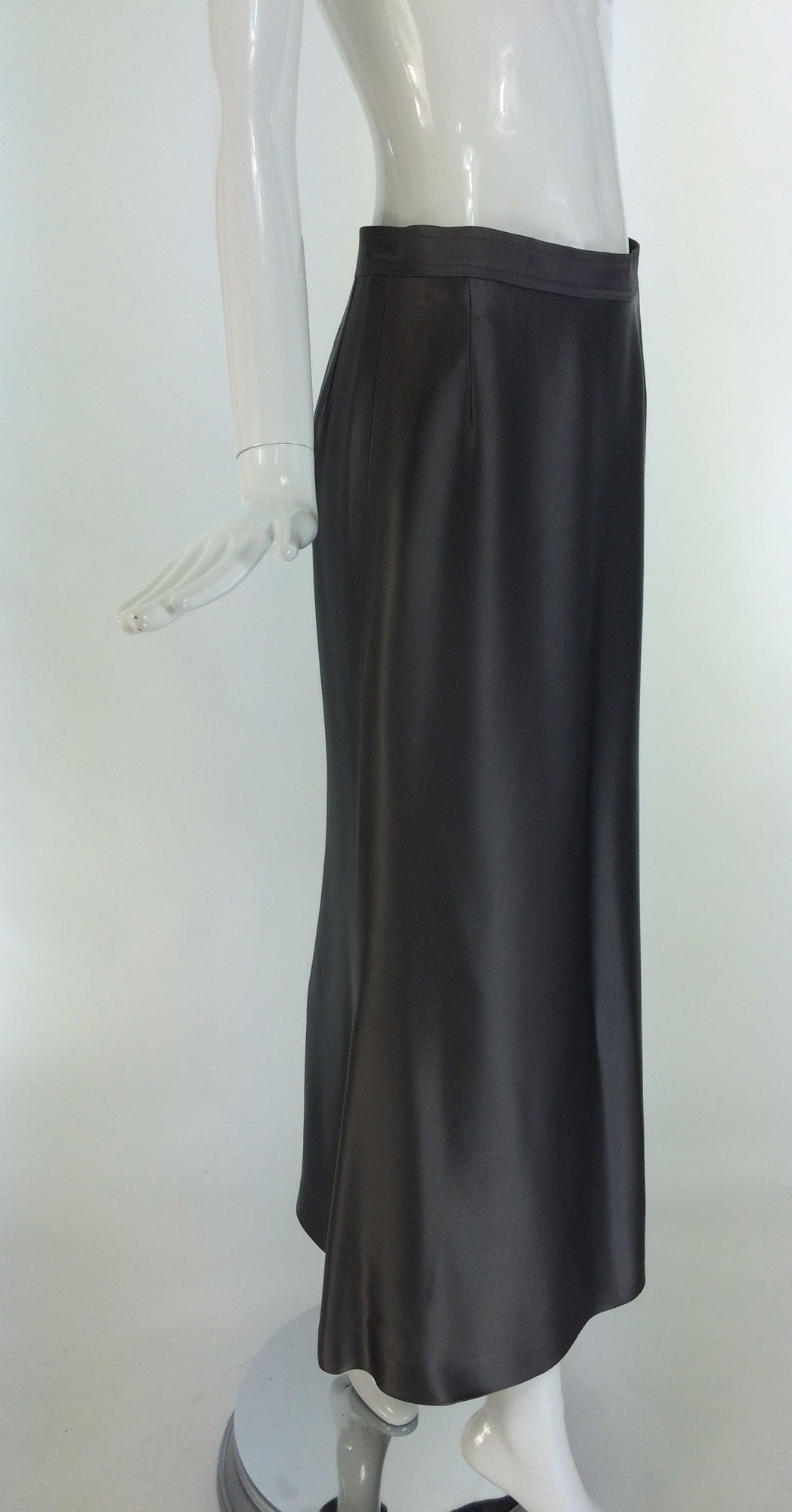 Yves St Laurent Rive Gauche silver grey satin evening skirt 1990s 3