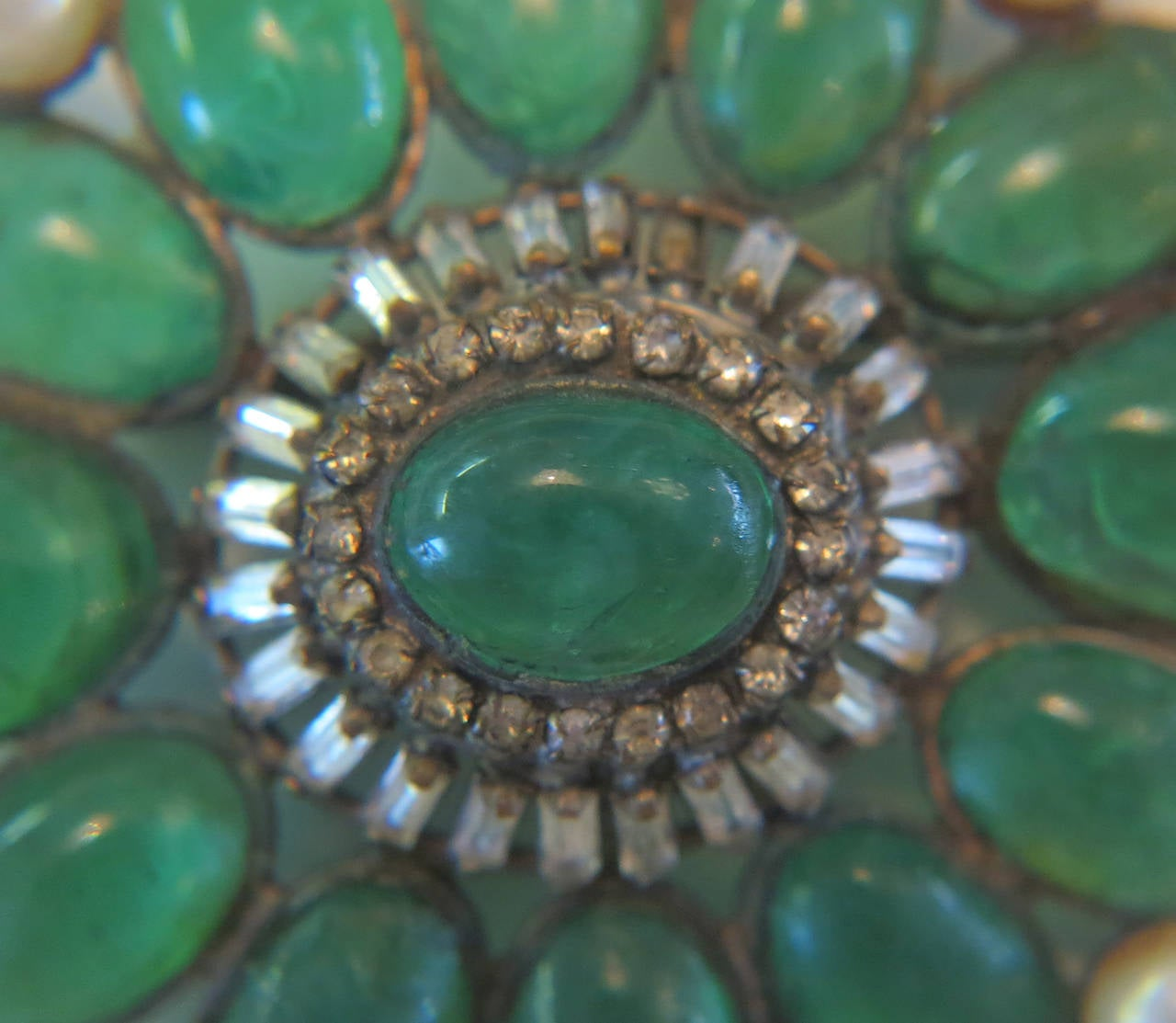 Chanel rare early signed large Gripoix emerald brooch 1950s 5