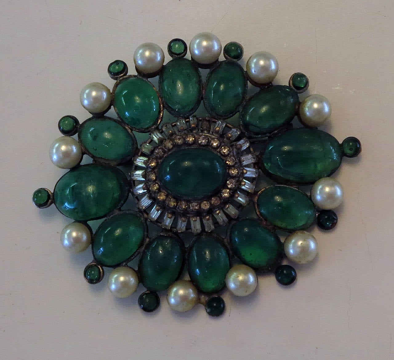 Chanel rare early signed large Gripoix emerald brooch 1950s 9