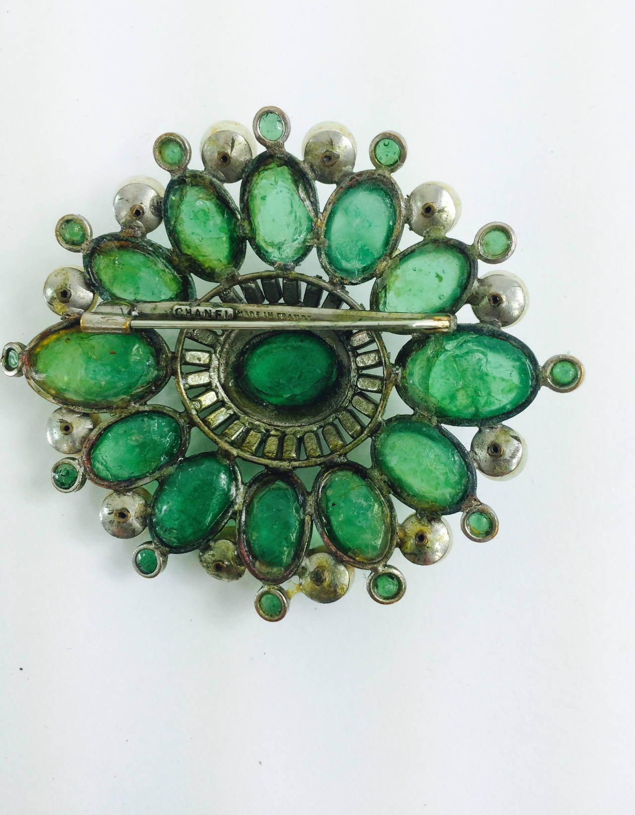 Chanel rare early signed large Gripoix emerald brooch 1950s 2