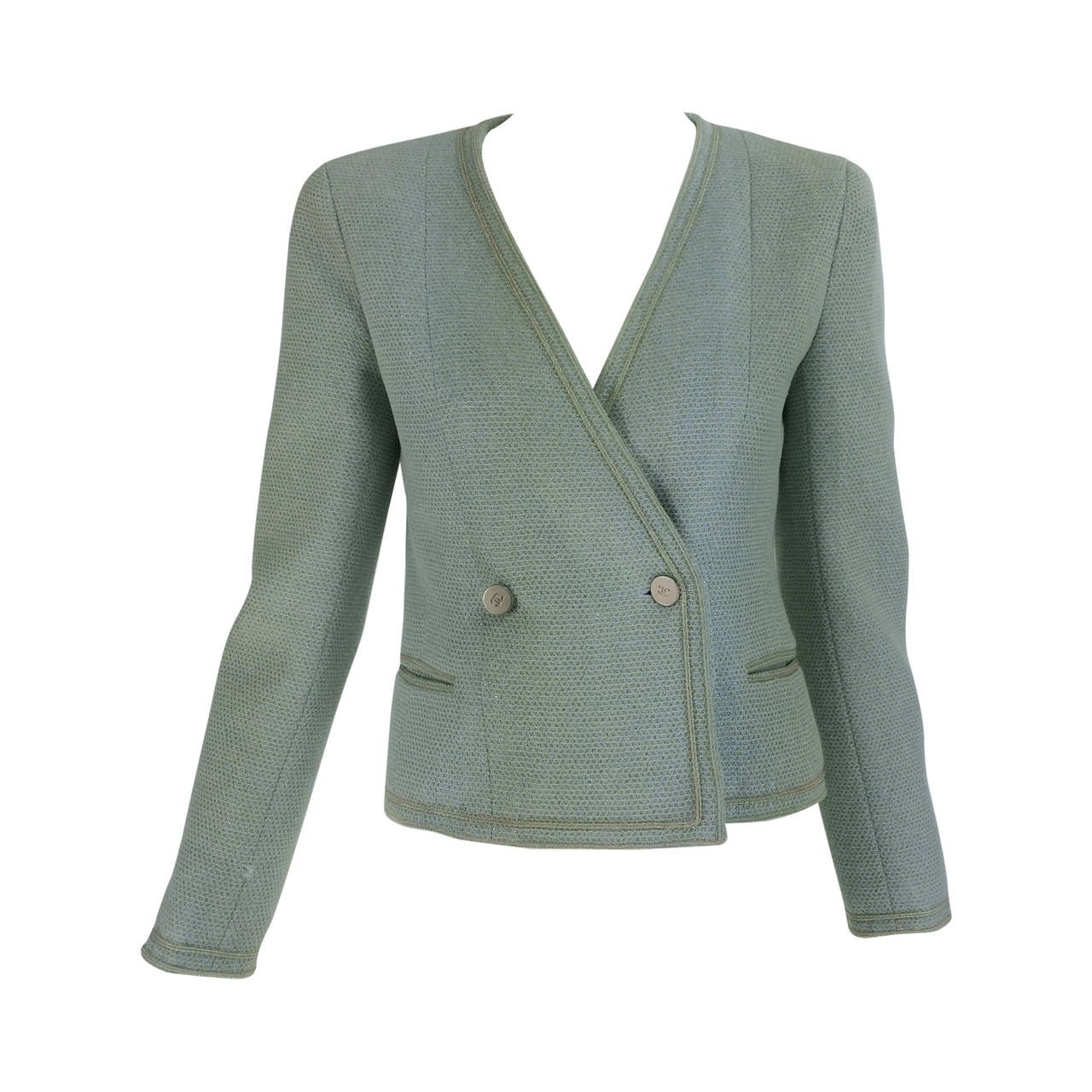 Chanel mint green glitter tweed cropped jacket 2000