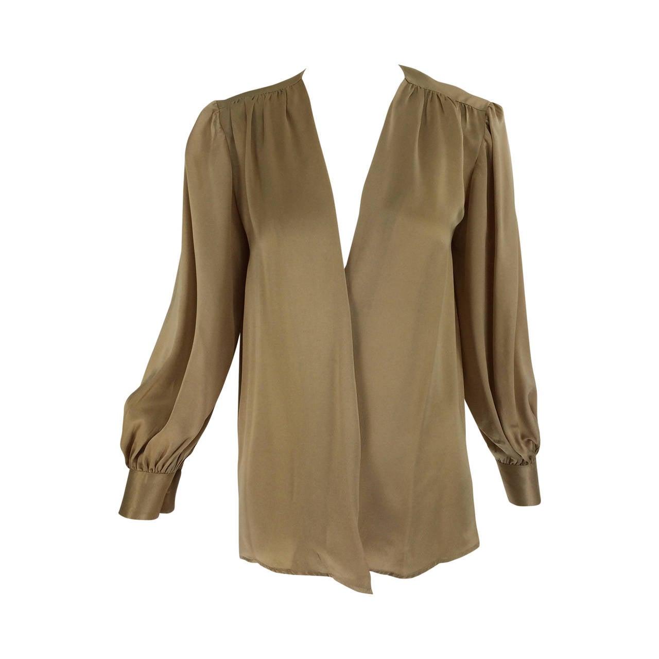 Yves St Laurent Rive Gauche gold silk charmeuse blouse 1990s