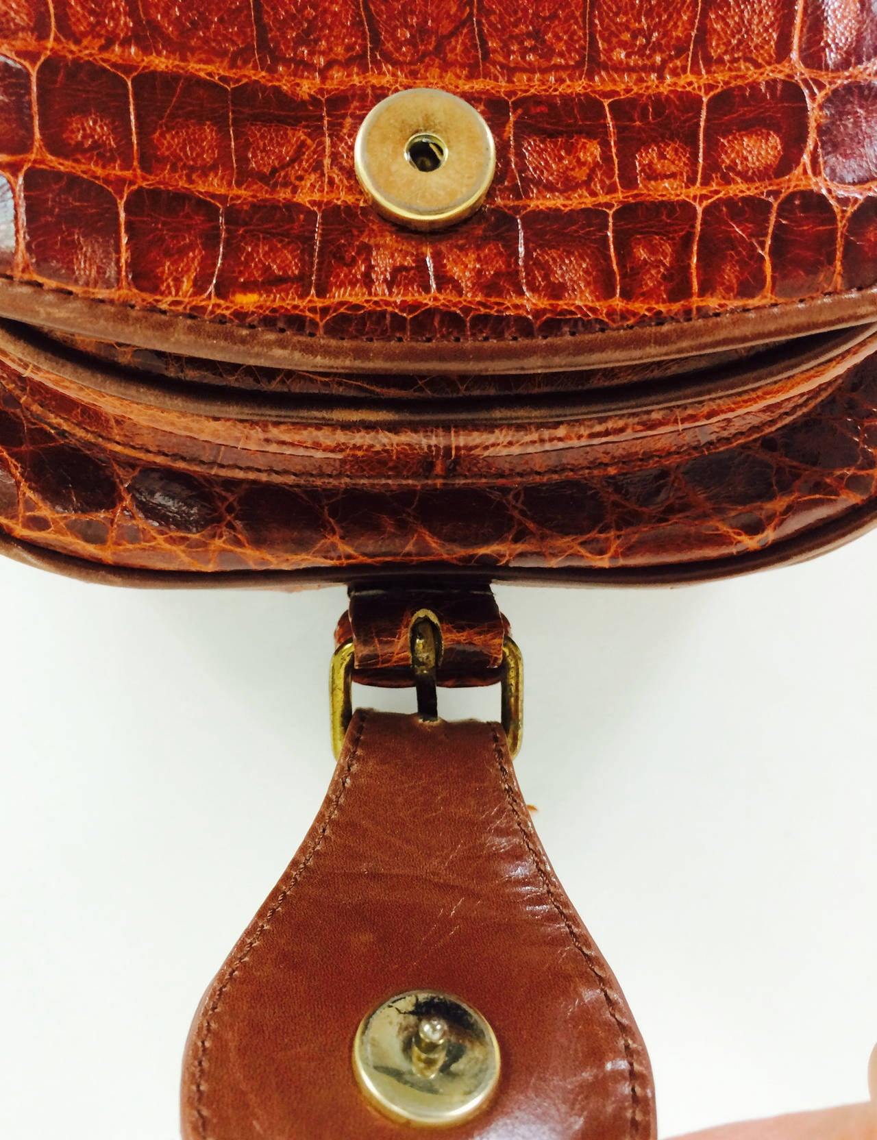 Saddle bag handbag cognac leather faux alligator Neiman Marcus 1980s 9