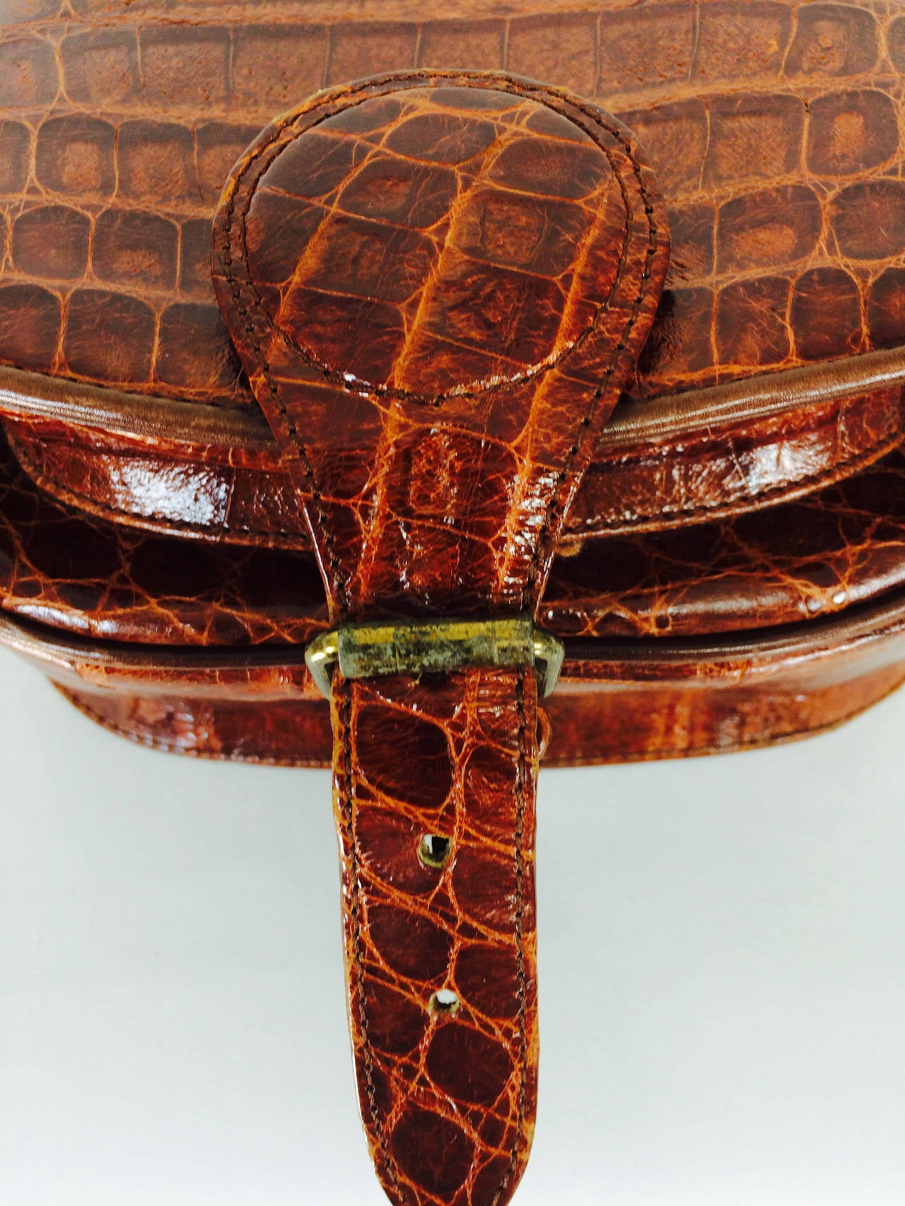 Saddle bag handbag cognac leather faux alligator Neiman Marcus 1980s 8