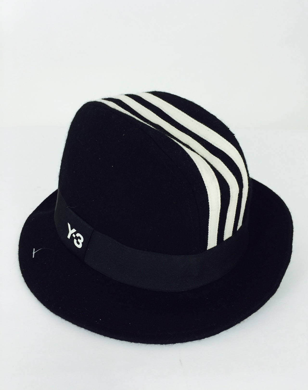 Yohji Yamamoto Y-3 Adidas cashmere blend trilby fedora In Excellent Condition For Sale In West Palm Beach, FL