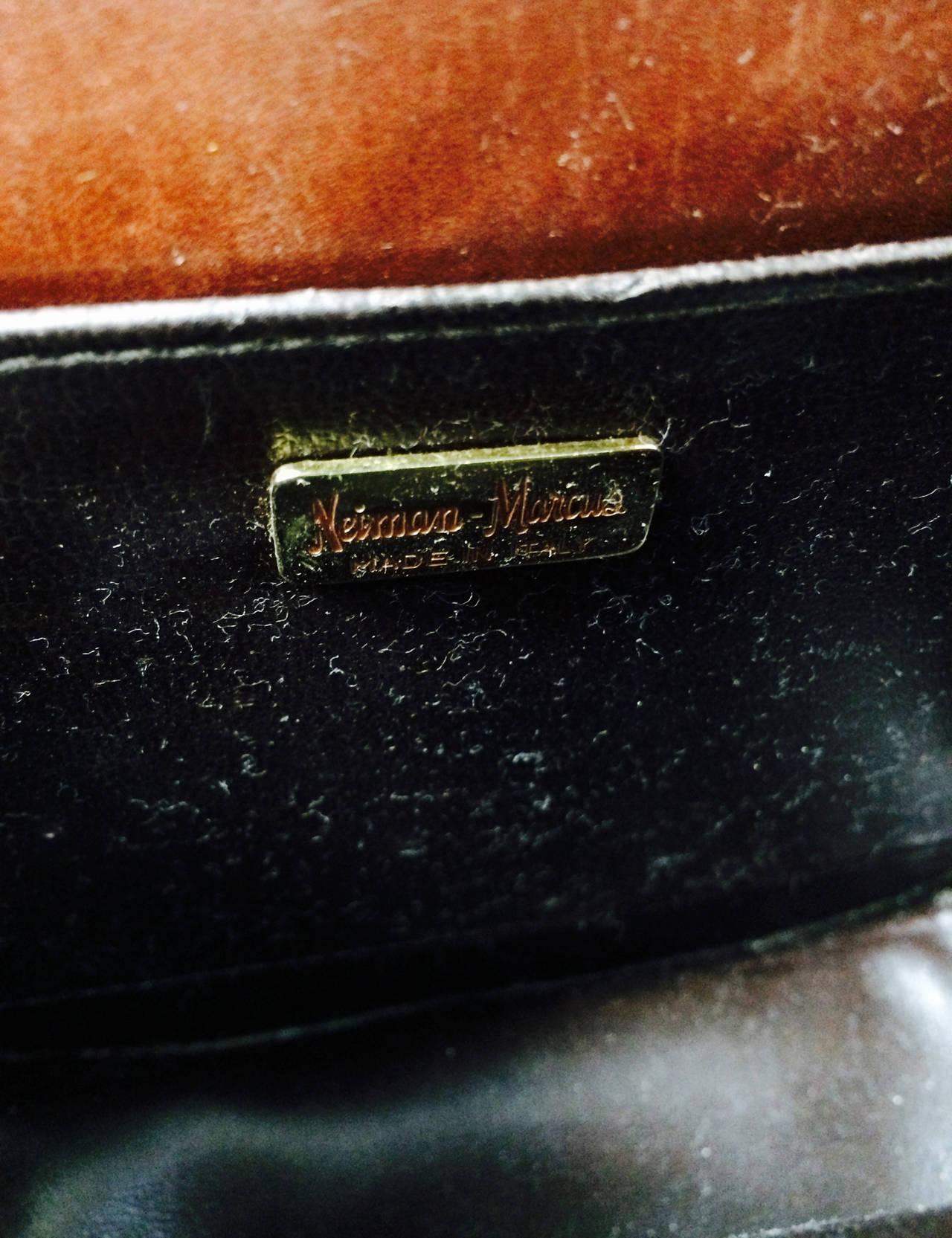 Saddle bag handbag cognac leather faux alligator Neiman Marcus 1980s 10