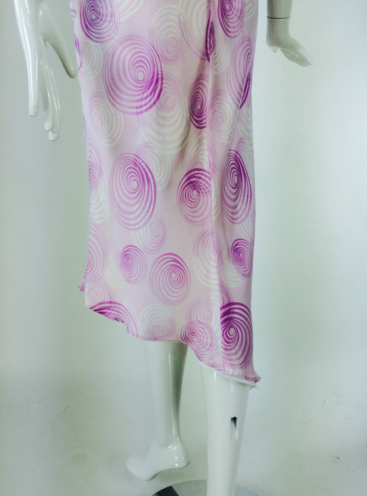 Escada bias cut silk spiral print cowl neck dress 1990s 8