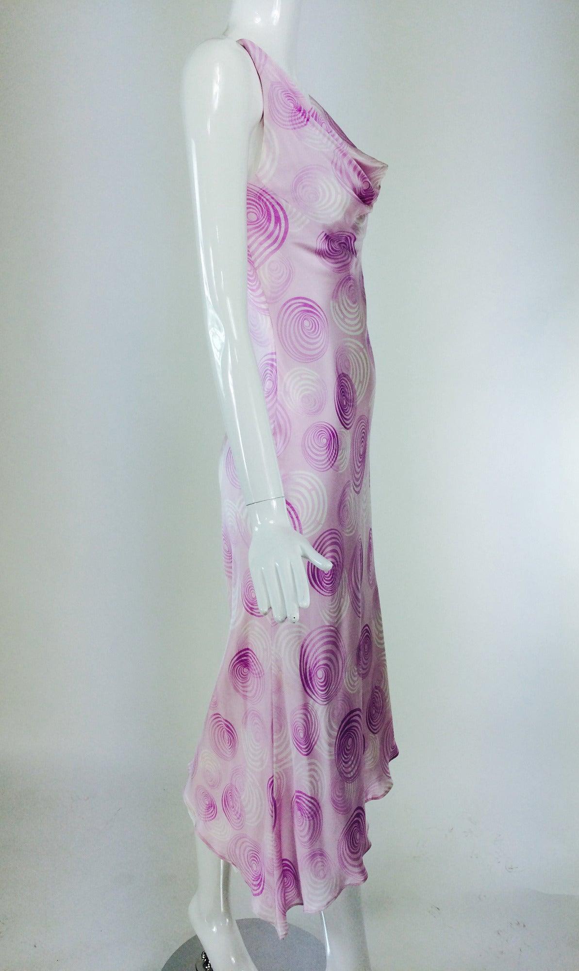 Escada bias cut silk spiral print cowl neck dress 1990s 3