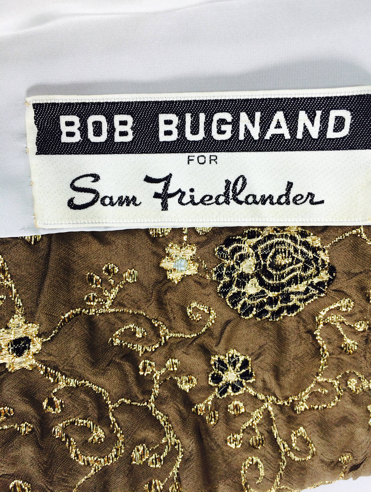 Bob Bugnand for Sam Friedlander mink cuff embroidered evening coat 1960s 10