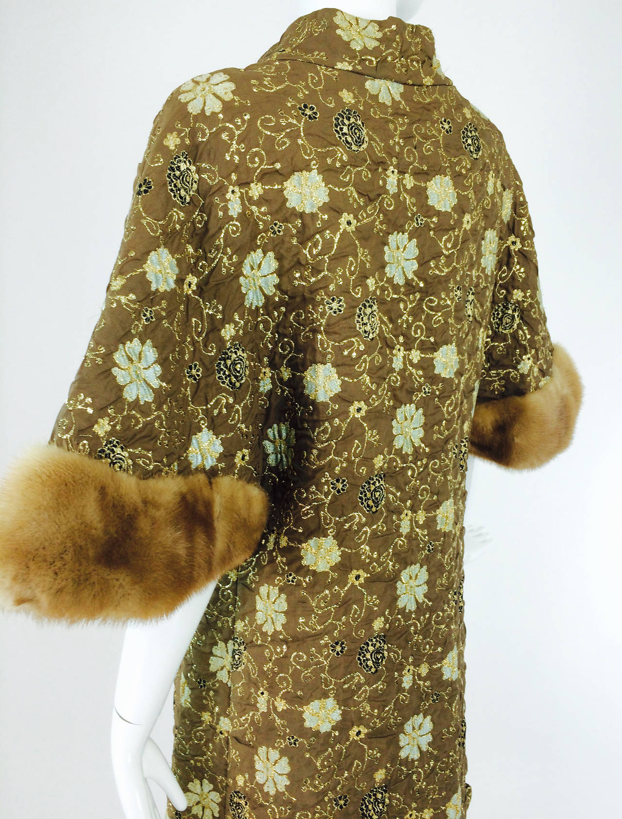 Bob Bugnand for Sam Friedlander mink cuff embroidered evening coat 1960s 8