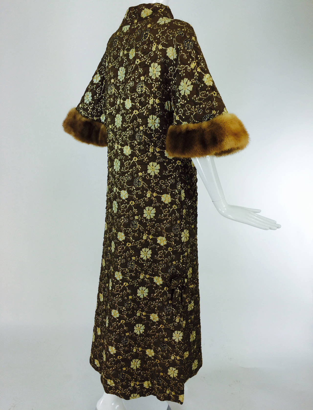 Bob Bugnand for Sam Friedlander mink cuff embroidered evening coat 1960s 6
