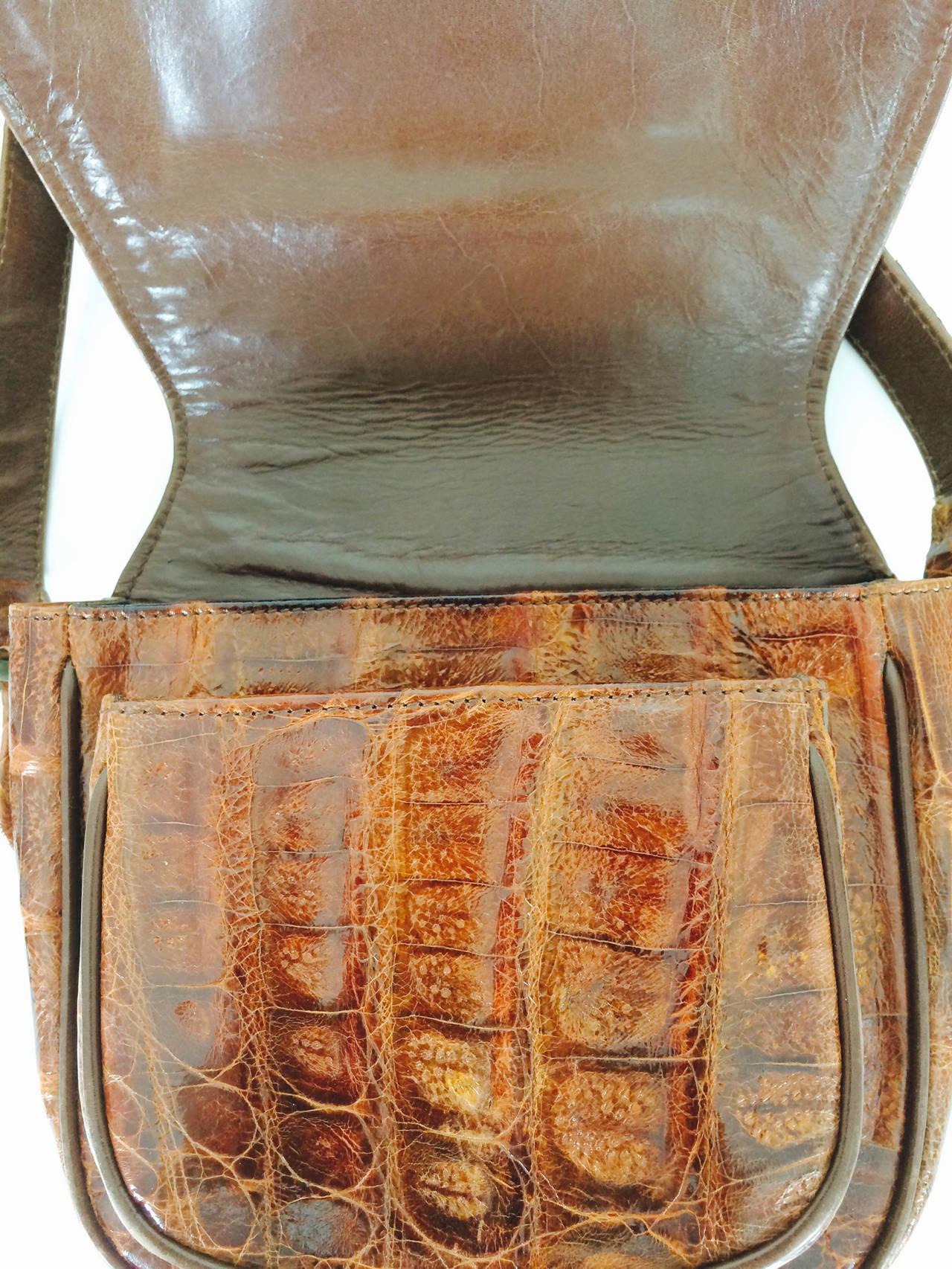Saddle bag handbag cognac leather faux alligator Neiman Marcus 1980s 6