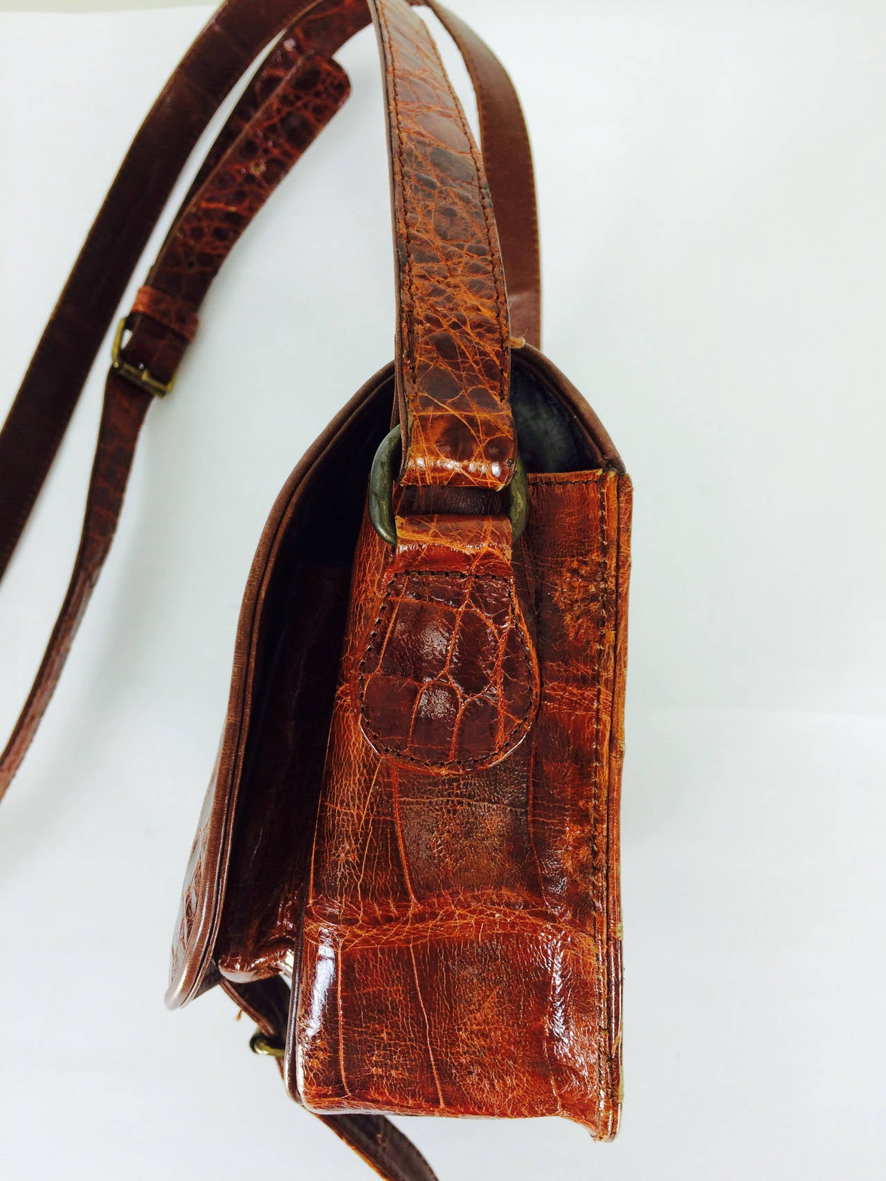 Saddle bag handbag cognac leather faux alligator Neiman Marcus 1980s 3