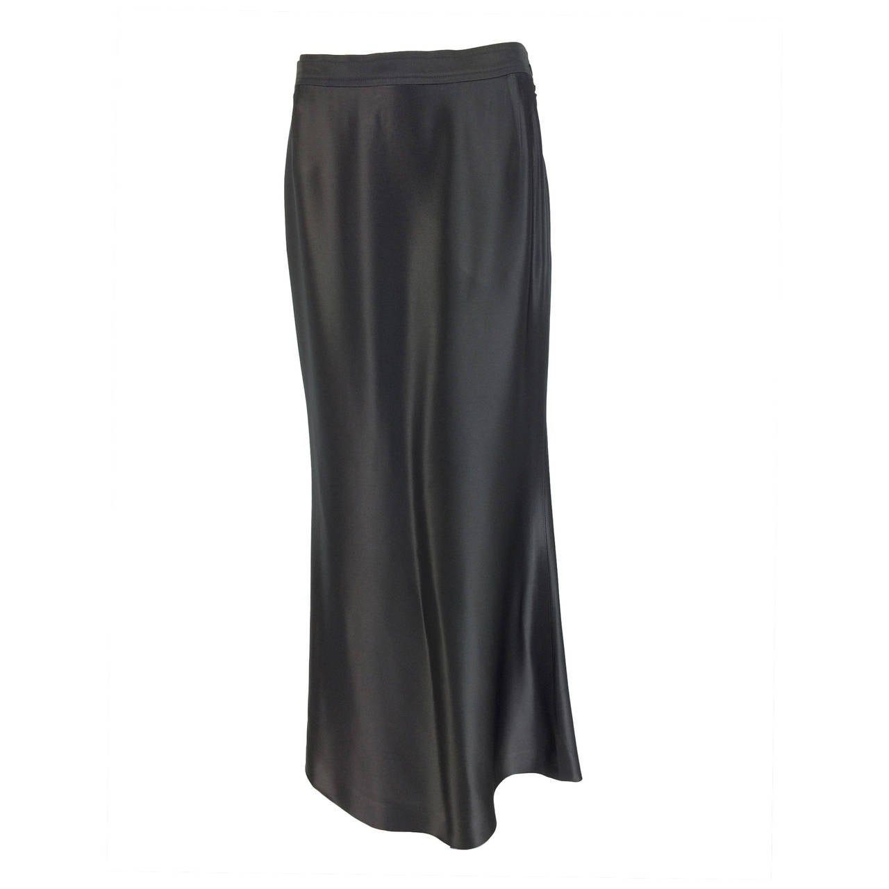 Yves St Laurent Rive Gauche silver grey satin evening skirt 1990s