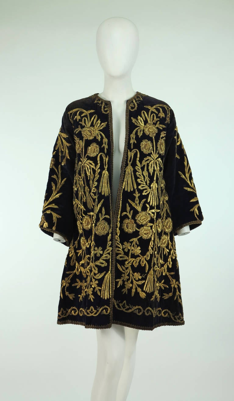 19th Century Ottoman Empire gold metallic embroidered velvet coat 2