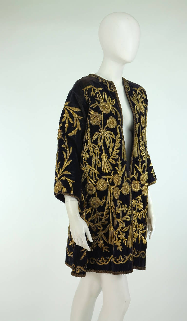 19th Century Ottoman Empire gold metallic embroidered velvet coat 3