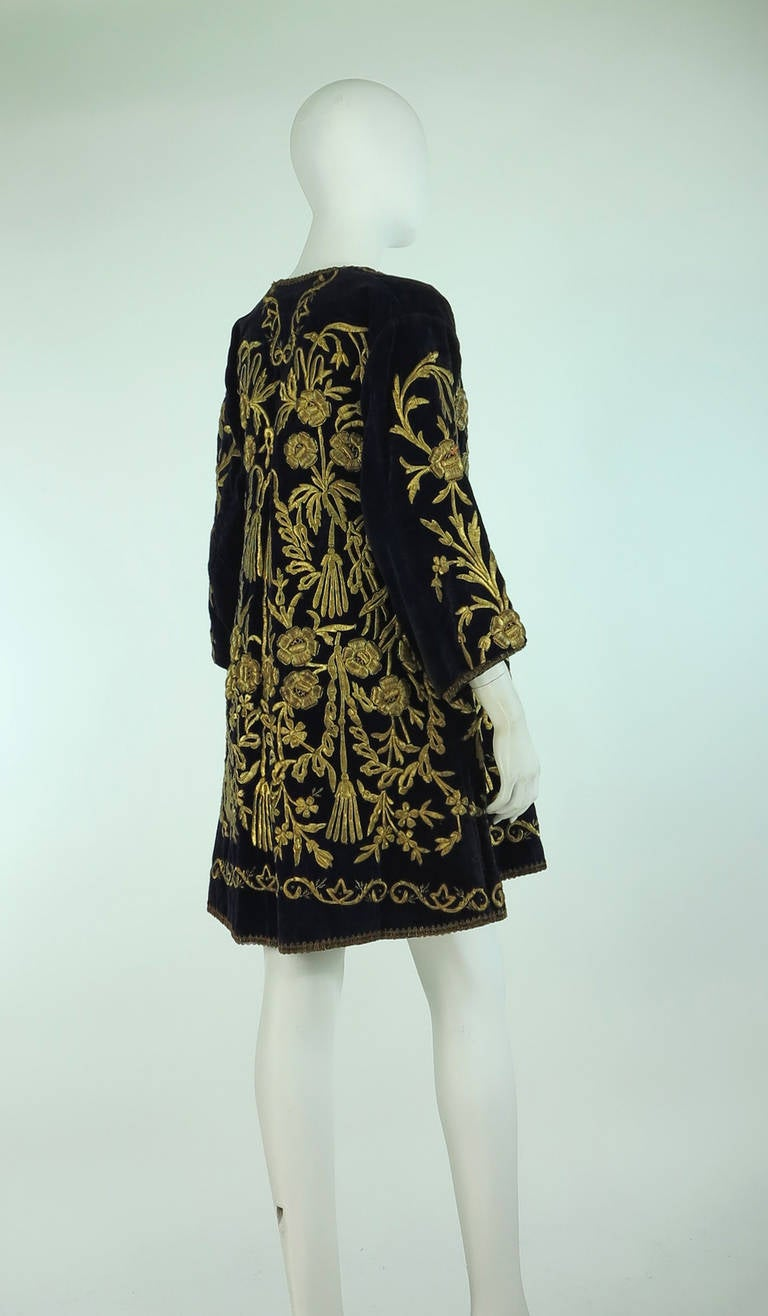 19th Century Ottoman Empire gold metallic embroidered velvet coat 5
