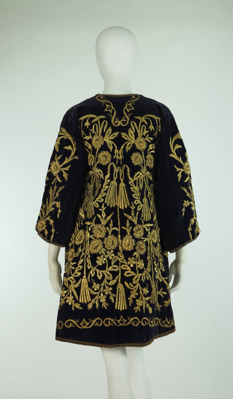 19th Century Ottoman Empire gold metallic embroidered velvet coat 6