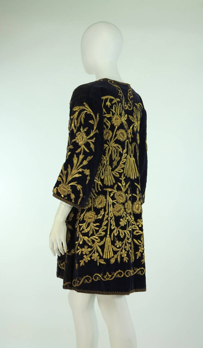 19th Century Ottoman Empire gold metallic embroidered velvet coat 7