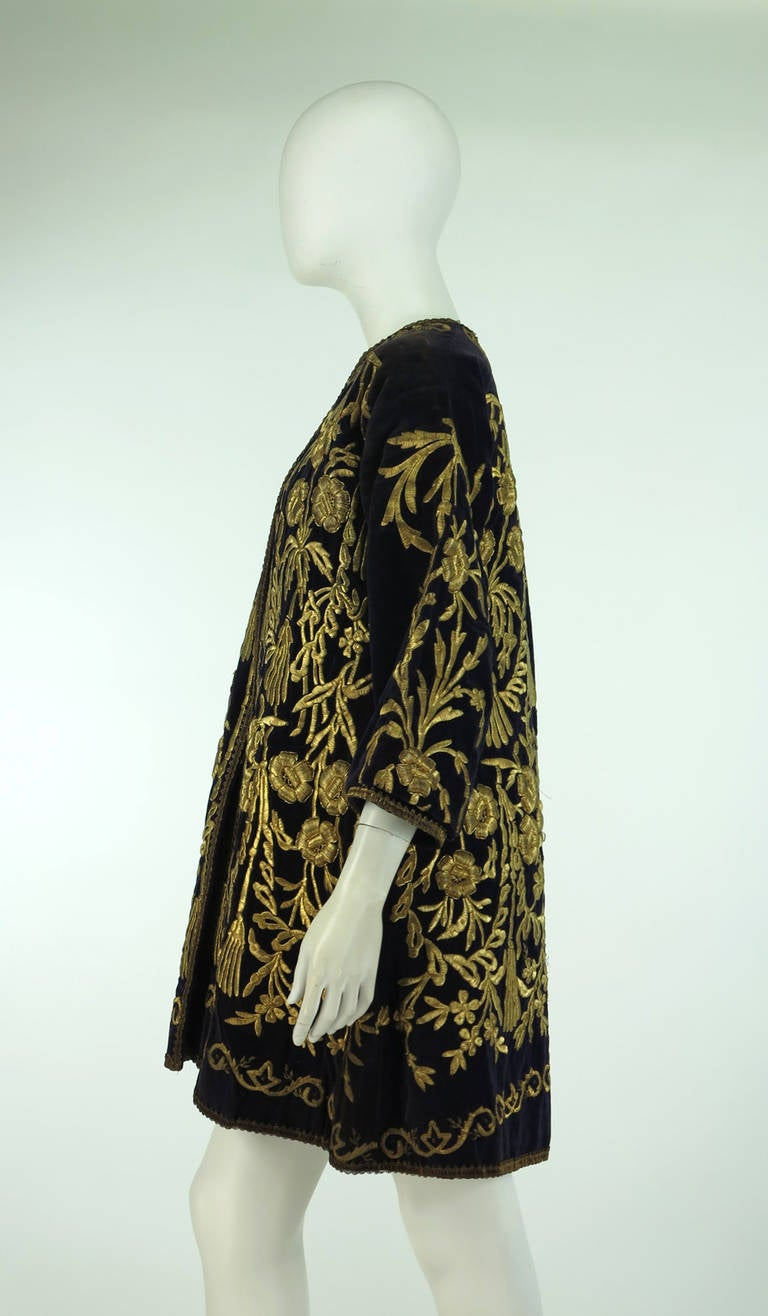 19th Century Ottoman Empire gold metallic embroidered velvet coat 8