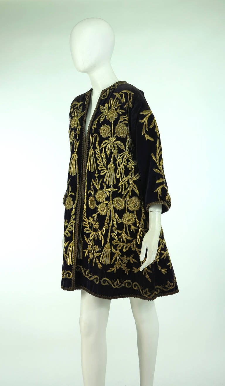 19th Century Ottoman Empire gold metallic embroidered velvet coat 9
